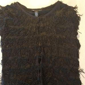 🎗 INC black fringed short sleeved vest